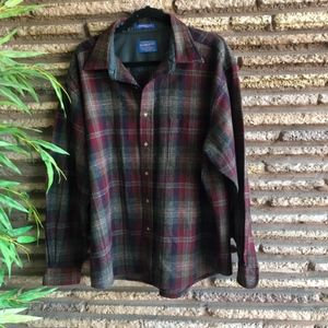 Pendleton Red Plaid Wool Shirt Elbow Patches
